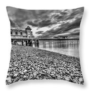 Penarth Pier 2 Mono Throw Pillow