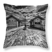Penarth Pier 2 Monochrome Throw Pillow