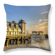 Penarth Pier Dawn Throw Pillow