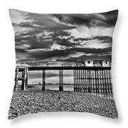 Penarth Pier Panorama Monochrome Throw Pillow
