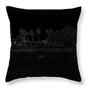 Pencil - A Houseboat On Its Quiet Sojourn Through The Backwaters Throw Pillow