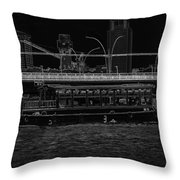 Pencil - Colorful River Cruise Boat In Singapore Next To A Bridge Throw Pillow