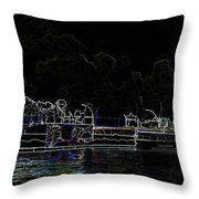 Pencil - Statue Of The Merlion And Viewing Platform Throw Pillow