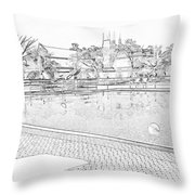 Pencil - Swimming Pool With Balls Throw Pillow