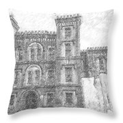 Pencil Drawing Of Old Jail Throw Pillow
