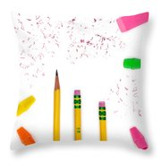 Pencils And Erasers Throw Pillow