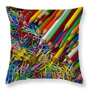 Pencils And Paperclips Throw Pillow