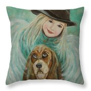 Penelope And Charlie Little Angel Of Faith And Loyalty Throw Pillow