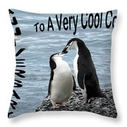 Penguin Anniversary Card Throw Pillow