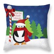 Penguin At Santa Stop Here Sign Throw Pillow