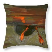 Penguin From Under Water Throw Pillow