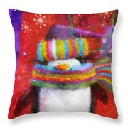 Penguin Happy Holidays Photo Art Throw Pillow