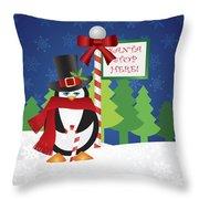 Penguin Top Hat At Santa Stop Here Sign Throw Pillow