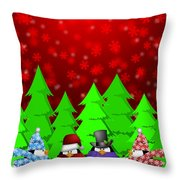 Penguins Carolers Singing With Red Winter Scene Illustration Throw Pillow