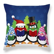 Penguins Carolers With Night Winter Scene Throw Pillow