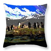 Penguins Line Dance Posterized 2 Throw Pillow