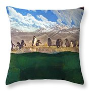 Penguins On Ice Throw Pillow