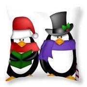 Penguins Singing Christmas Carol Cartoon Clipart Throw Pillow