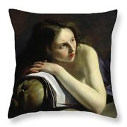 Penitent Magdalen Oil On Canvas Throw Pillow