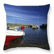Pennan Harbour Scotland Throw Pillow