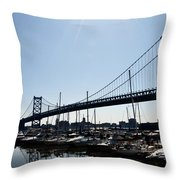 Penns Landing Marina Throw Pillow