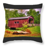 Pennsylvania Country Roads - Everhart Covered Bridge At Fort Hunter - Harrisburg Dauphin County Throw Pillow