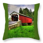 Pennsylvania Country Roads - Forry's Mill Covered Bridge - Lancaster County Spring No. 2 Throw Pillow