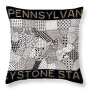 Pennsylvania Map Black Throw Pillow