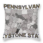 Pennsylvania Map White Throw Pillow
