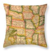 Pennsylvania Railroad Map 1879 Throw Pillow