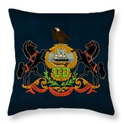 Pennsylvania State Flag Art On Worn Canvas Throw Pillow by Design Turnpike