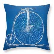 Penny-farthing 1867 High Wheeler Bicycle Blueprint Throw Pillow