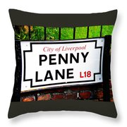 Penny Lane Sign City Of Liverpool England  Throw Pillow