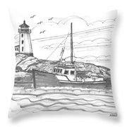 Peggy's Cove Lighthouse Nova Scotia Throw Pillow