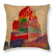 Penobscot Building Iconic Buildings Of Detroit Watercolor On Worn Canvas Series Number 5 Throw Pillow