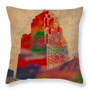 Penobscot Building Iconic Buildings Of Detroit Watercolor On Worn Canvas Series Number 5 Throw Pillow by Design Turnpike