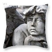 Pensive Angel Detail Monumental Cemetery Milan Italy Throw Pillow