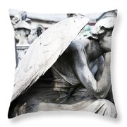 Pensive Angel Monumental Cemetery Milan Italy Throw Pillow