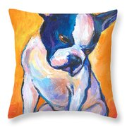 Pensive Boston Terrier Dog  Throw Pillow