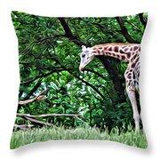 Pensive Giraffe Throw Pillow