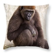 Pensive Gorilla Throw Pillow