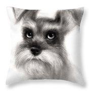 Pensive Schnauzer Dog Painting Throw Pillow