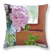 Peonies And Honeysuckle  Throw Pillow