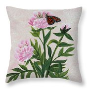 Peonies And Monarch Butterfly Throw Pillow