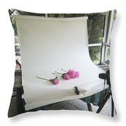 Peonies And Paper Backdrop Throw Pillow