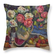 Peonies And Summer Fruit Throw Pillow