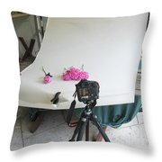 Peonies And Tripod Throw Pillow