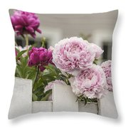 Peonies On A Picket Throw Pillow
