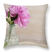 Peony And Blue Bottle Throw Pillow