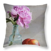 Peony Blue Bottle And Nectarine Throw Pillow
